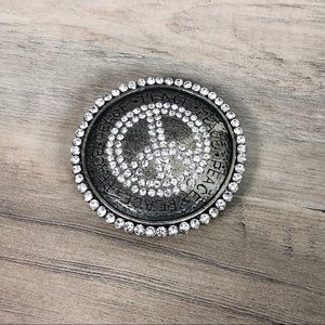 Accessories - Boho Western Rhinestone Peace Sign Belt Buckle
